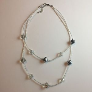 #1091 Double Layered Faux Crystal Statement Piece